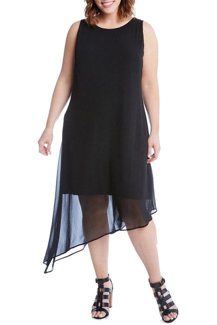 "From <a href=""https://www.nordstromrack.com/shop/product/2256728/karen-kane-asymmetrical-overlay-shift-dress-plus-size?color="