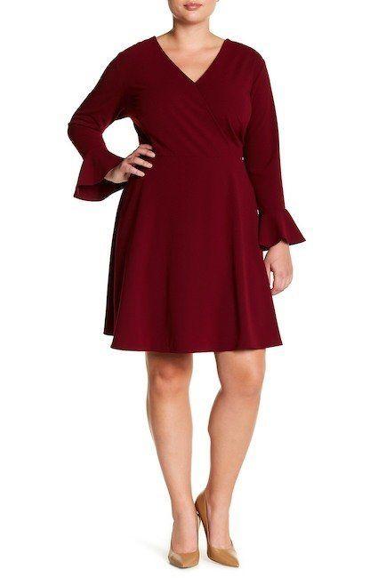 "From <a href=""https://www.nordstromrack.com/shop/product/2182327/alexia-admor-bell-sleeve-faux-wrap-dress-plus-size?color=BUR"