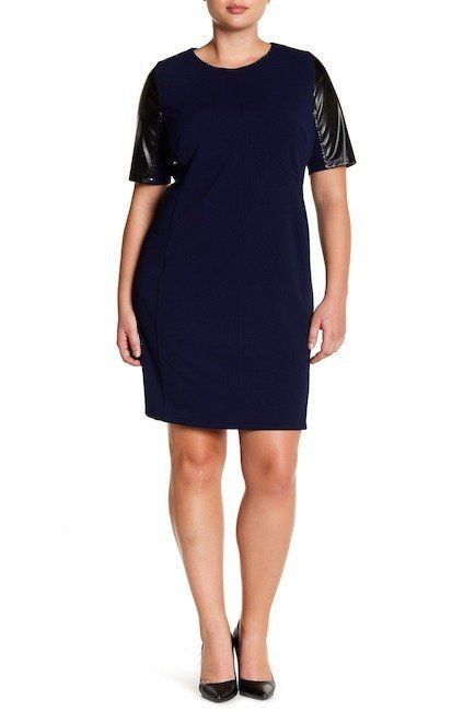 """From <a href=""""https://www.nordstromrack.com/shop/product/2182328/alexia-admor-faux-leather-sleeve-shift-dress-plus-size?color"""