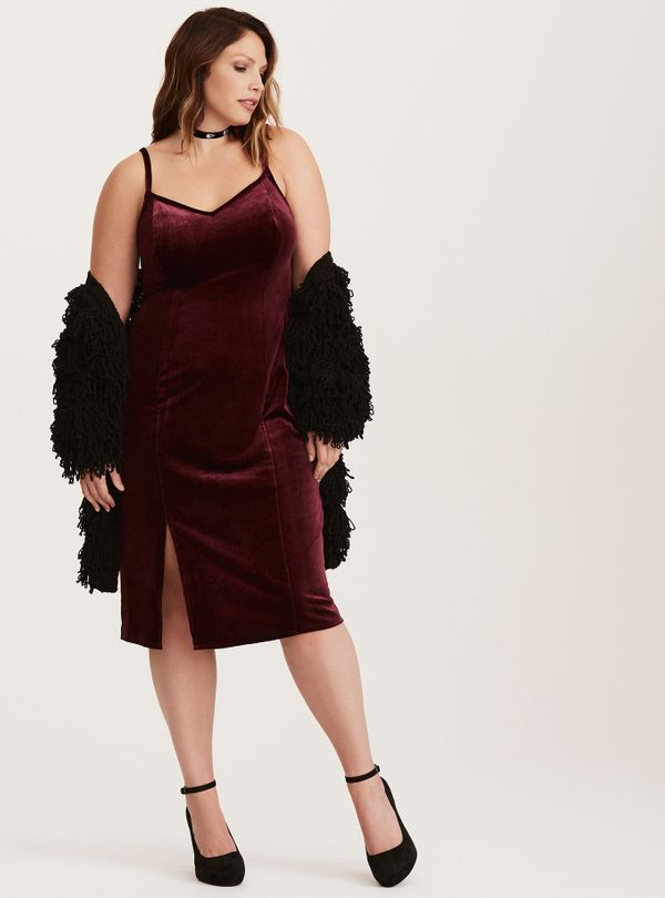 """From <a href=""""http://www.torrid.com/product/special-occasion-wine-velvet-slip-dress/11060648.html?cgid=dresses_holiday"""" targe"""