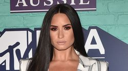 Demi Lovato Skips A Shirt Underneath Her Suit At The MTV