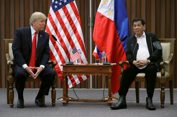 U.S. President Donald Trump holds a bilateral meeting with Rodrigo Duterte, the president of the Philippines, on Monday.&nbsp