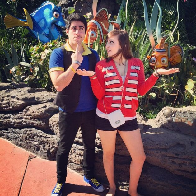 Sarah and her boyfriend, Leo, Disneybounding as Dory and Nemo from
