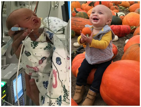 Kash was born at 35.5 weeks. I had to be induced due to preeclampsia. He weighed 4 pounds, 8 ounces and had to spend two and
