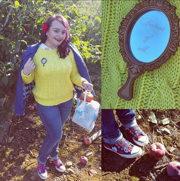 "<a href=""https://www.instagram.com/50shadesofgroot/"" target=""_blank"">Brittani Enos-Blake</a> Disneybounding as Snow White. Shewore a Magic Mirror pin instead of carrying an actual mirror."