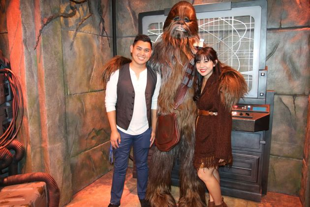 Keshia and her husband Kevin Disneybounding as Han Solo and Chewbacca from