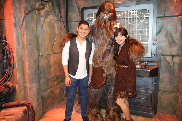 """Keshia and her husband Kevin Disneybounding as Han Solo and Chewbacca from """"Star Wars."""""""