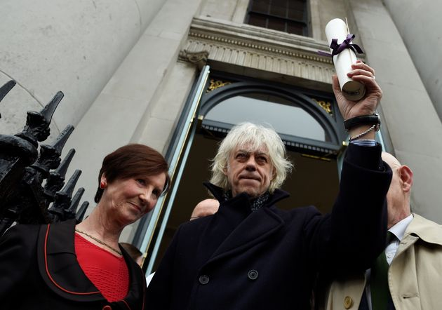 Bob Geldof arrives to return his 'Freedom of the City of Dublin' after saying he could not continue to...