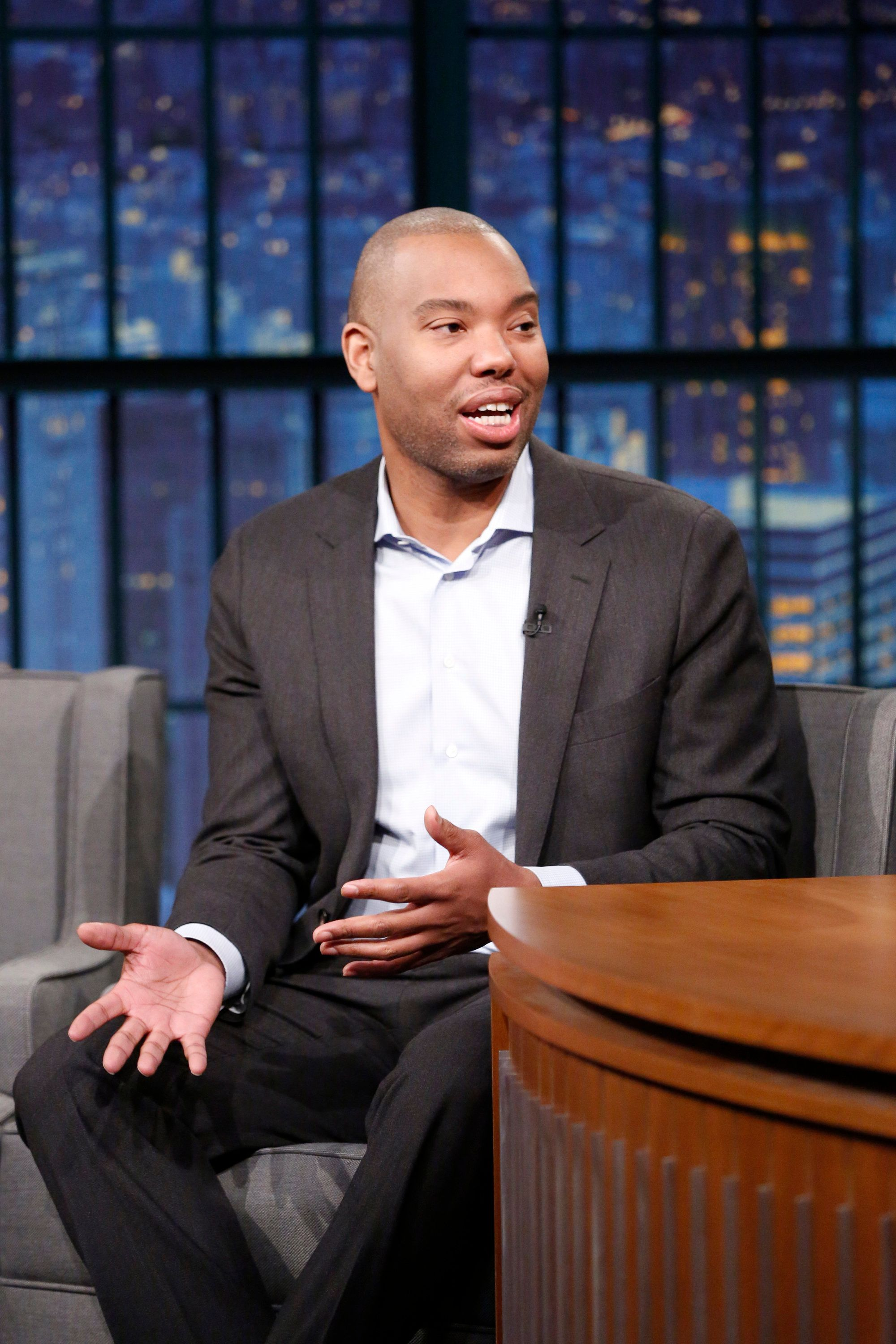 "Journalist Ta-Nehisi Coates during a Jan. 24 interview on ""Late Night with Seth Meyers."""