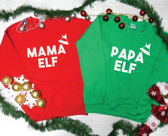 """Get the set <a href=""""https://www.etsy.com/listing/481212000/mama-elf-sweatshirt-papa-elf-sweatshirt?ga_order=most_relevant&am"""