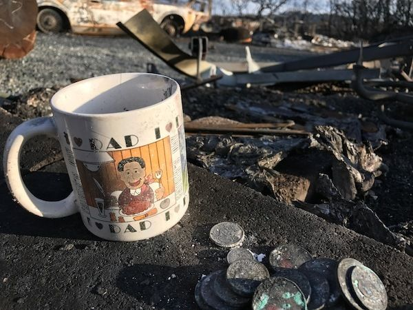 Dad cup in the ashes of our house
