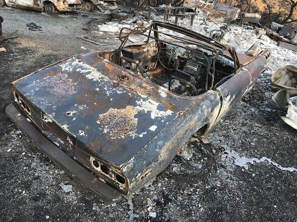 Burned-out car in our driveway