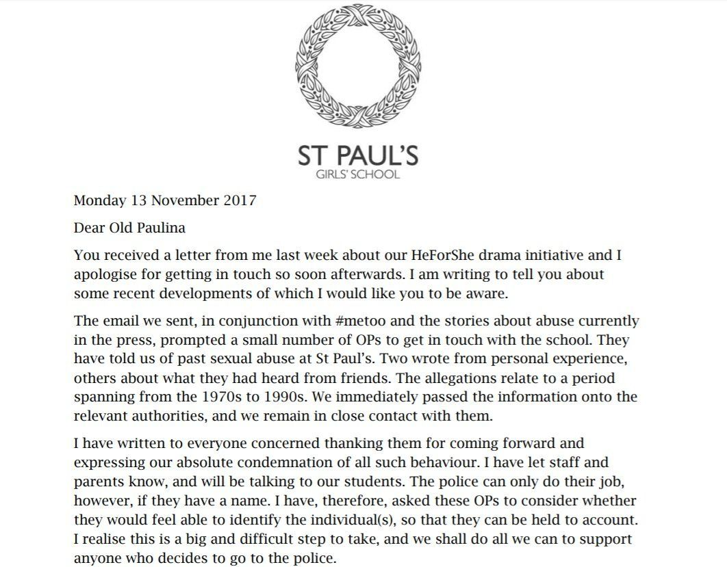 An extract from the letter sent to former pupils.