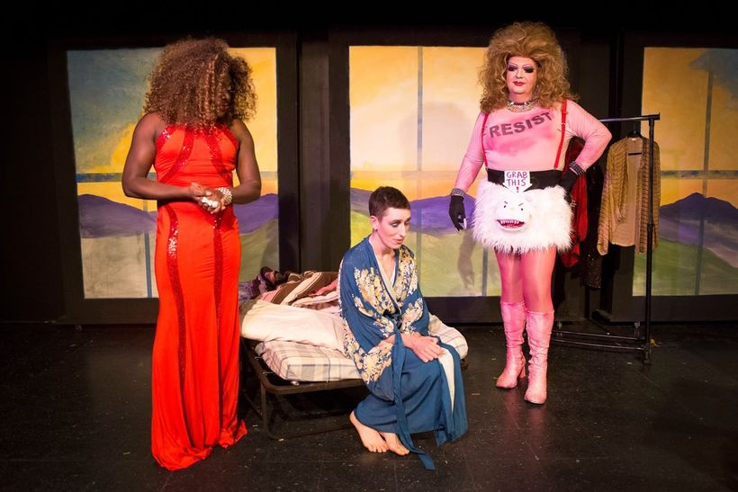 Paul Renolis (Gloriana), Ryan Engstrom (Sam), and Nick Leonard (Ur) in a scene from <strong><em>My Fairy Drag Mothers</em></s