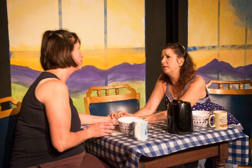 Anastasia Durbala and Kim Saunders as two lesbian moms in <strong><em>The Morning After Alex Leaves</em></strong>