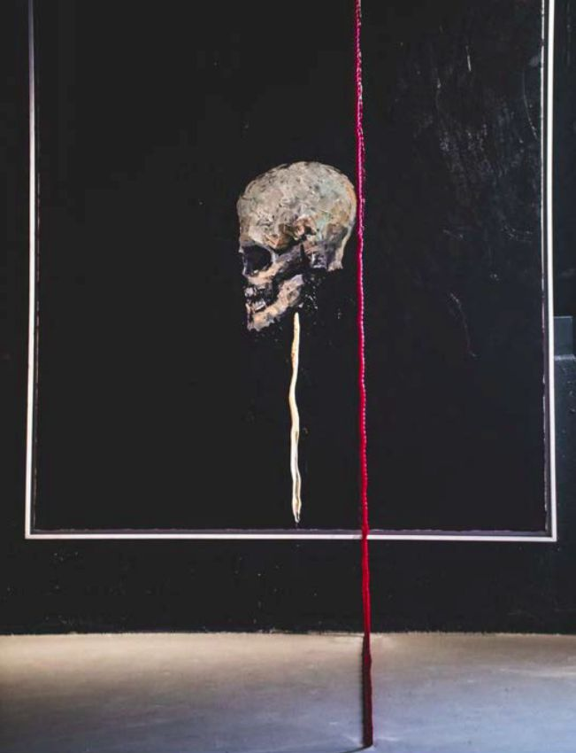 <strong><em>Alive and Expressing Loner,</em></strong> Oil on Canvas, Rope, Mixed Media