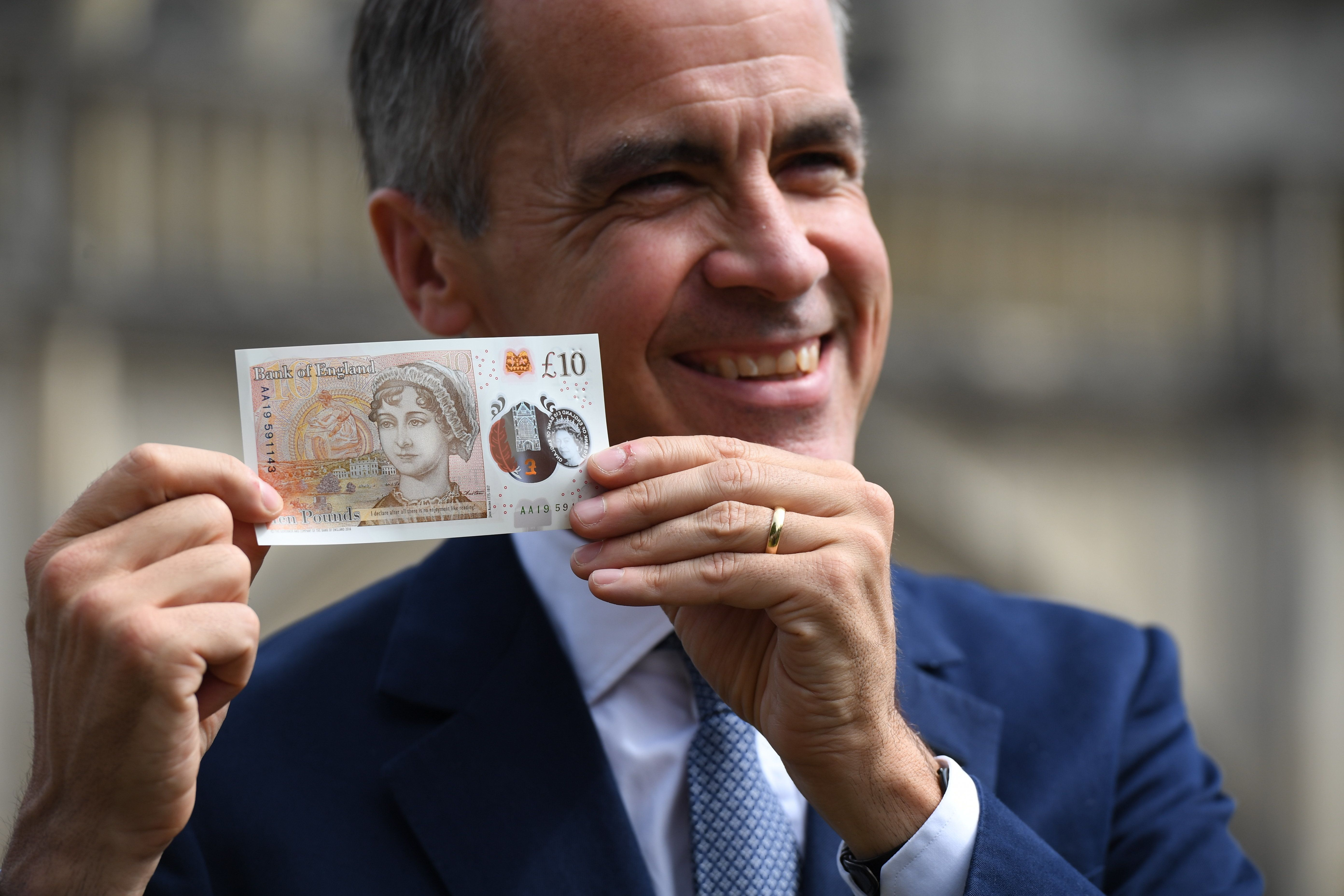 <strong>The Governor of the Bank of England, Mark Carney, during the unveiling at Winchester Cathedral, of the new £10 note featuring Jane Austen, which marks the 200th anniversary of Austen's death.</strong>