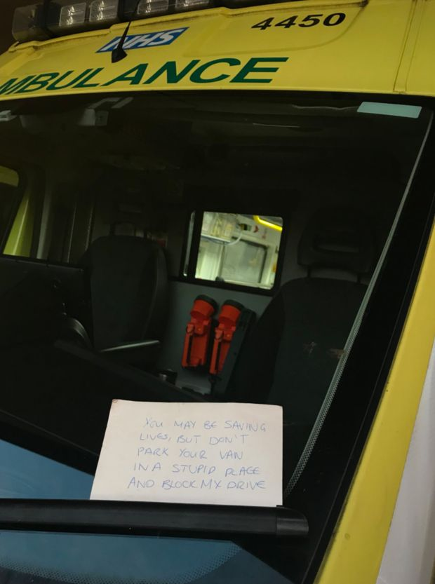 <strong>Paramedics in Birmingham were shocked to find the angry note on their windscreen</strong>
