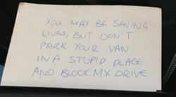 Man Who Left Rude Note On Ambulance Admits 'What I Did Was