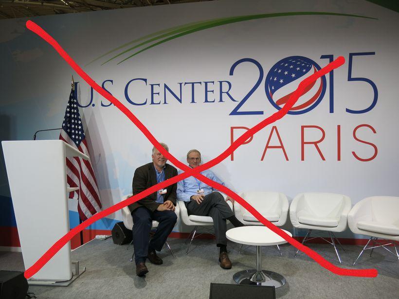 The US Pavilion at the 2015 COP21 in Paris. US Pavilion is missing at COP23 in Bonn.