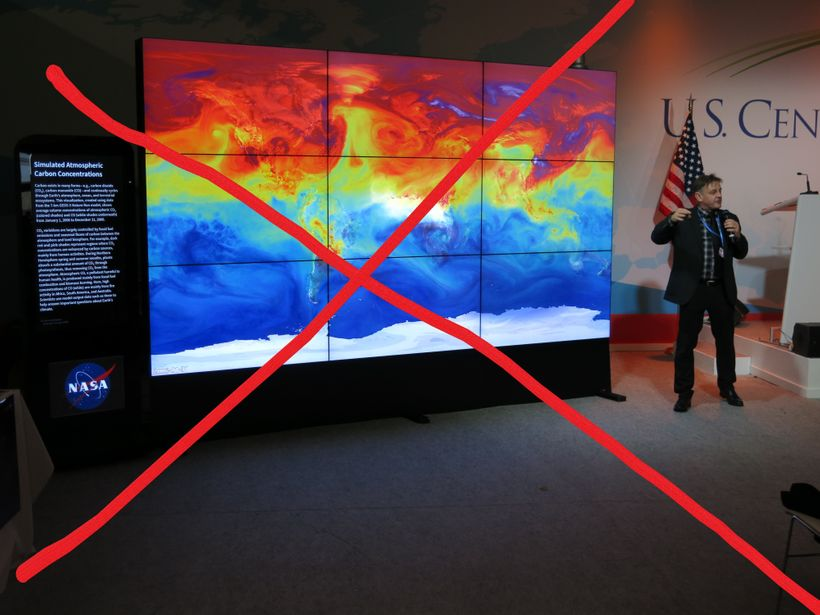 At COP21 in Paris, NASA's Hyperwall visualized examples of world changes. The NASA Hyperwall is missing at COP23 in Bonn.