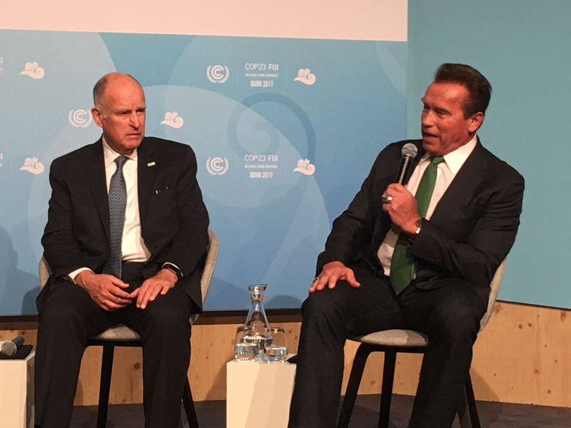 California Governor Jerry Brown (D) and former Governor Arnold Schwarzenegger (R) speak at a Governor's Panel. Schwarzenegger