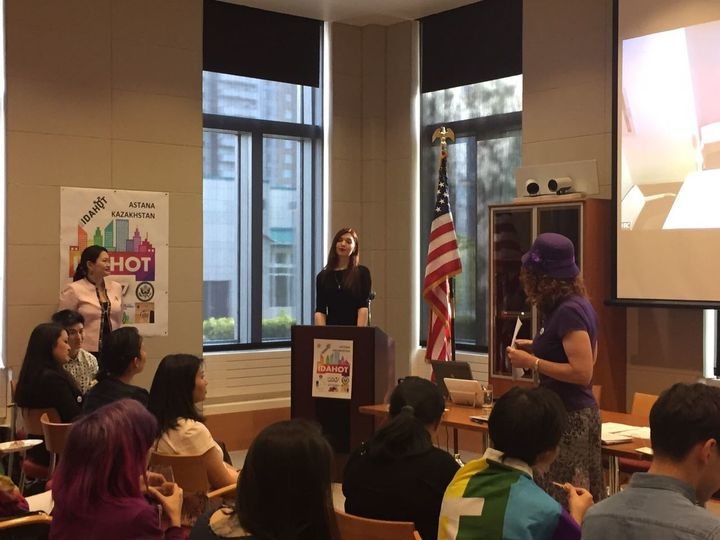 Sultana speaks at the American embassy's event marking the annual International Day against Homophobia, Transp