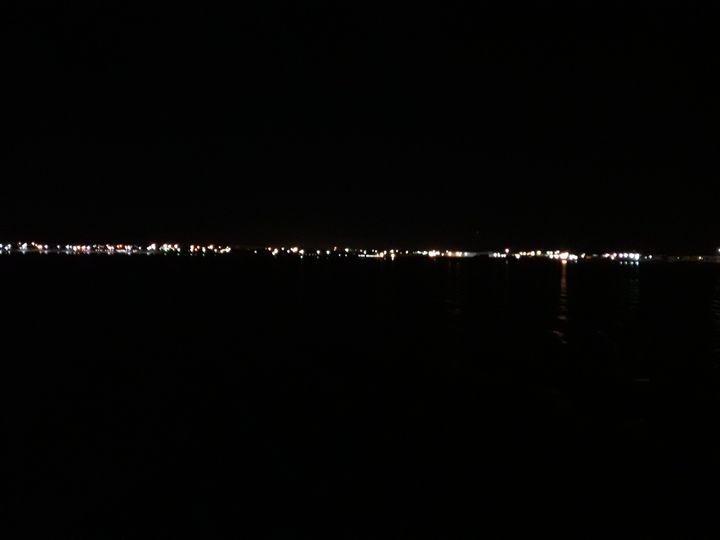 View from the ferry as the lights of Aktau, Kazakhstan fade into the distance.