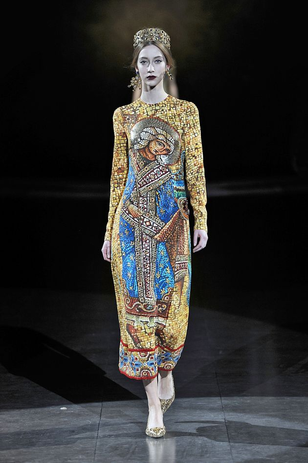 A model walks the runway at the Dolce & Gabbana fall 2013 ready-to-wear show in Milan,