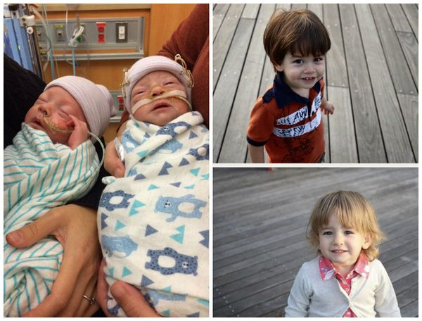 My twins, Elliot and Camryn, were born on Sept. 8, 2015, at 32 weeks, two days gestation. They were in the NICU for 57 d