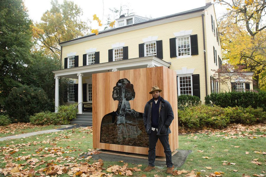 "Titus Kaphar with ""Impressions of Liberty."""