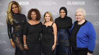 BROOKLYN, NY - NOVEMBER 13:  Laverne Cox, Ruby Bridges, Katie Couric, Ibtihaj Muhammad and Sarah Weddington pose backstage at Glamour's 2017 Women of The Year Awards at Kings Theatre on November 13, 2017 in Brooklyn, New York.  (Photo by Dimitrios Kambouris/Getty Images for Glamour)
