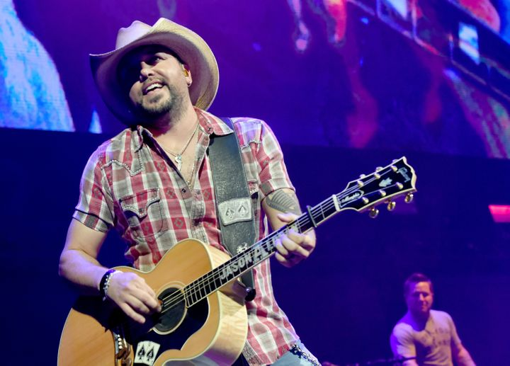 Jason Aldean performs onstage for the Country Rising Benefit Concert at Bridgestone Arena in Nashville, Tennessee, on Sunday.