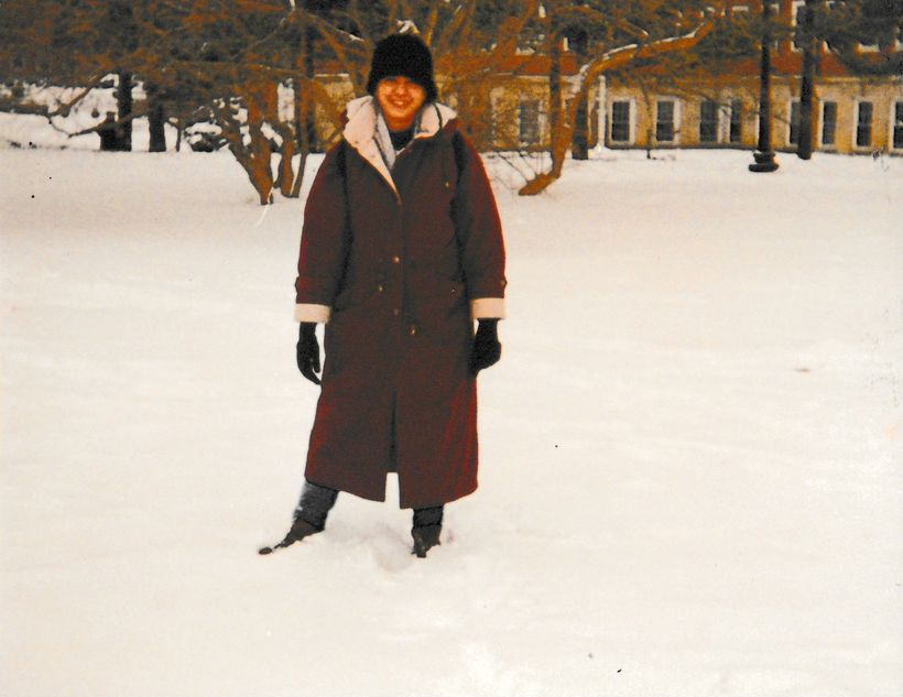 Me and my down-filled winter coat, University of Illinois campus, Winter 1996.