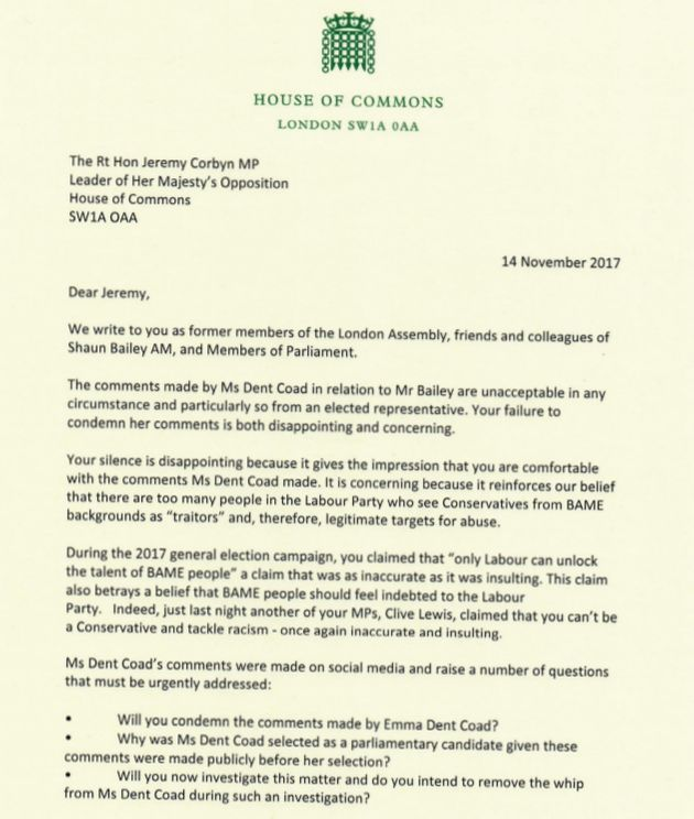The text of the letter sent to Jeremy Corbyn by Tory MPs James Cleverly and Kemi