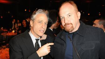 NEW YORK, NY - MARCH 26:  Jon Stewart and Louis C.K. at the First Annual Comedy Awards at Hammerstein Ballroom on March 26, 2011 in New York City.  (Photo by Jeff Kravitz/FilmMagic)