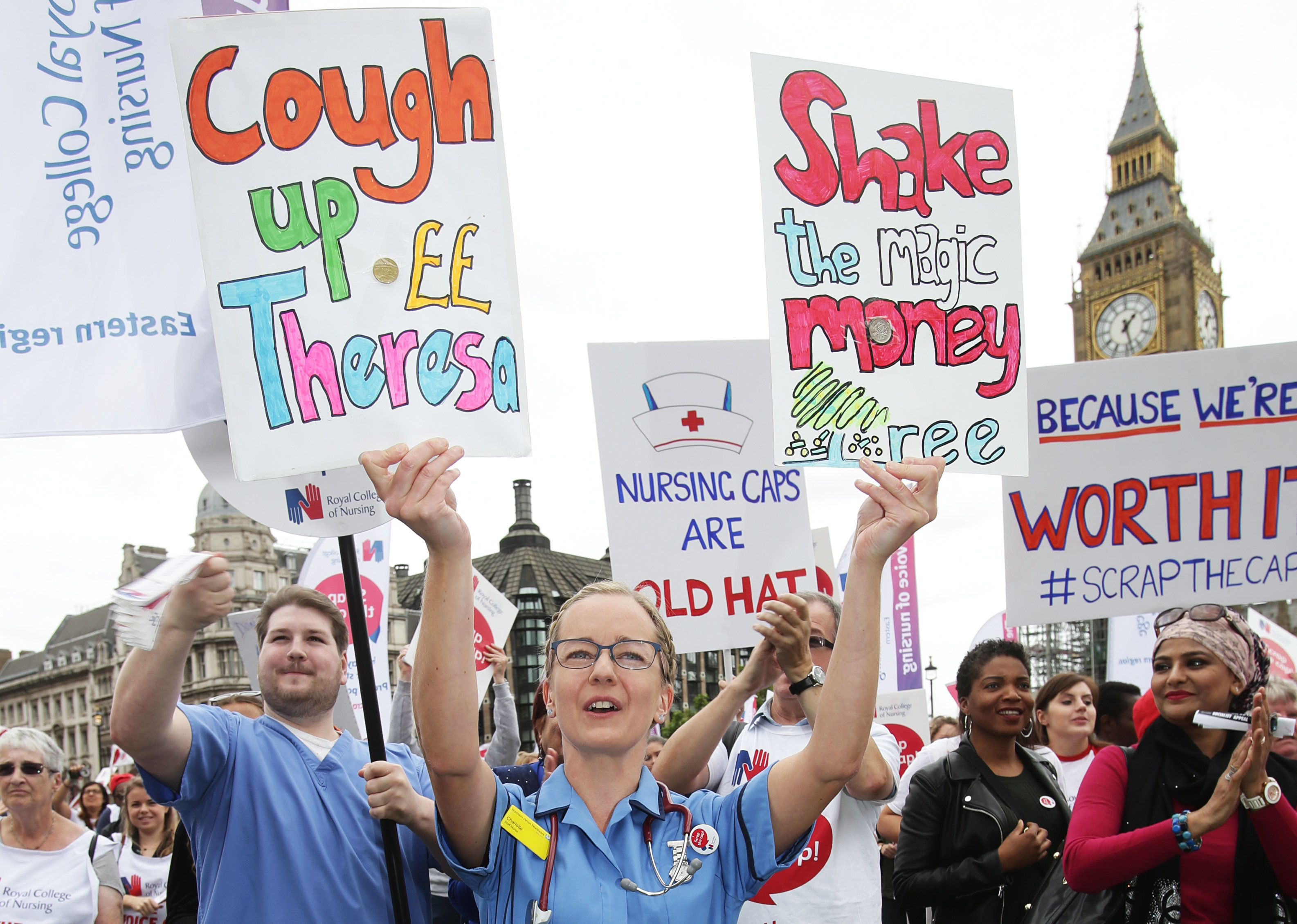 Nurses demonstrate against the pay cap in Parliament Square in September