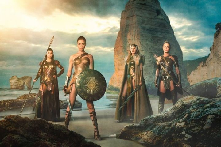 "Gal Gadot, Robin Wright,  Lisa Loven Kongsli, and Connie Nielsen in ""Wonder Woman."""