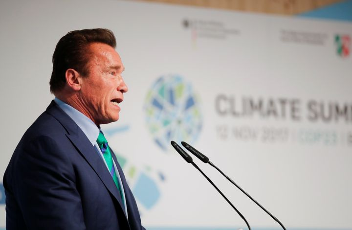Former California Gov. Arnold Schwarzenegger, a Republican, speaks during the U.N. Climate Change Conference.