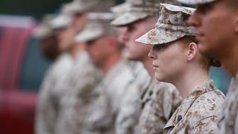 Quantico, Virginia, United States - August, 2 2010: Formation of Marines with select focus on the Woman Marine.