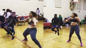 Dance Your Pounds Off instructor Brandi Mallory during a dance off with her colleague that went viral