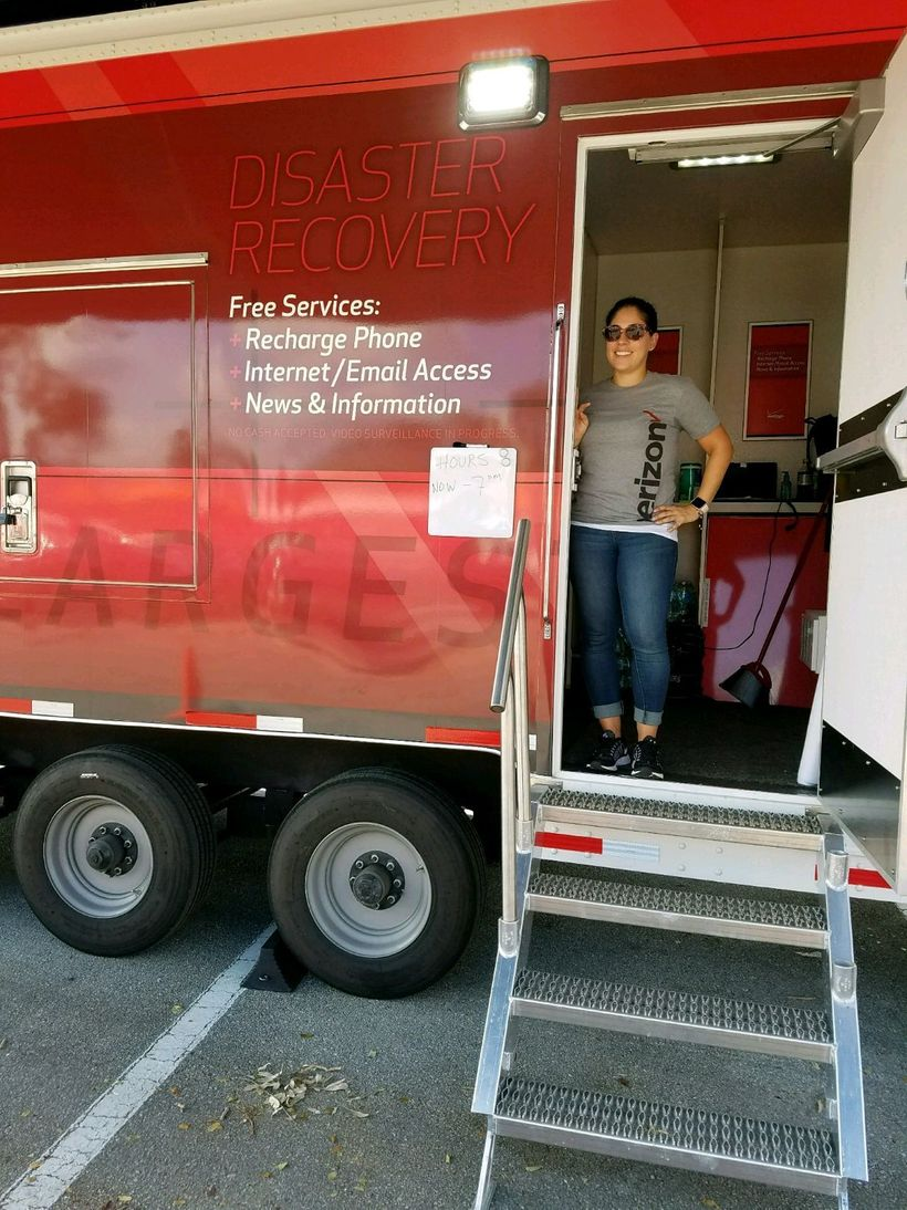 Helping the community: Verizon has WECCs -- Wireless Emergency Command Centers -- that they set up for residents to make call
