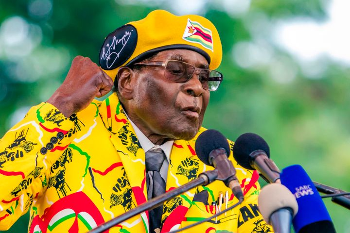 Mugabe addresses party members and supporters at his party headquarters to show support to Grace Mugabe becoming the party's