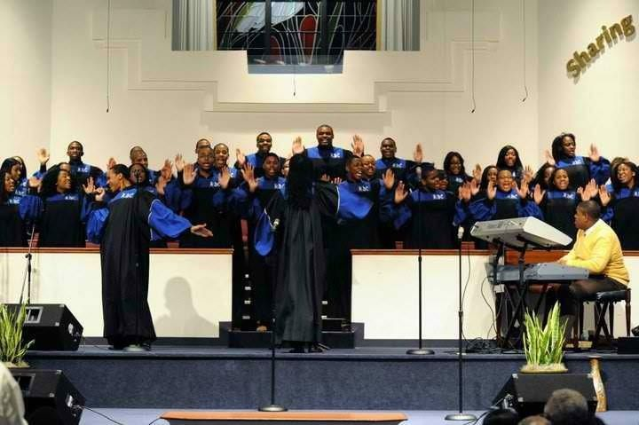 "Alex Hill II leading ""Be Transformed"" by Daniel Austin with Howard Gospel Choir of Howard University in Indianapolis during 2"