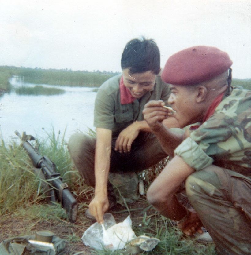 Breaking for lunch on the Mekong Delta, 1969.