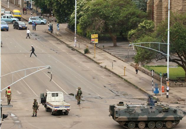 Soldiers stand on the streets in Harare, Zimbabwe, November