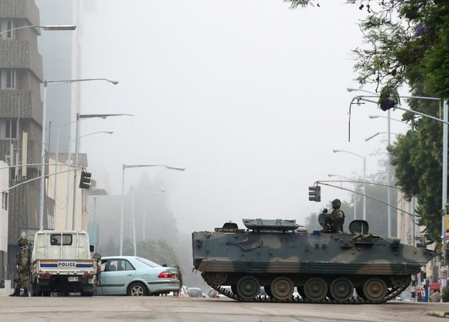 Military vehicles and soldiers patrol the streets in Harareon