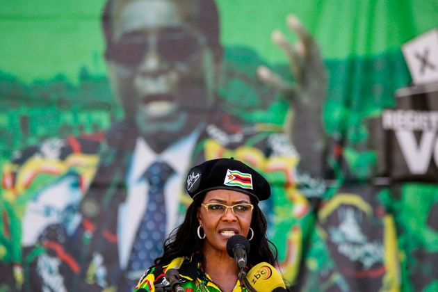 Grace Mugabe delivering a speech during the Zanu PF youth interface rally in