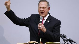 JACKSON, AL - NOVEMBER 14:  Republican candidate for U.S. Senate Judge Roy Moore speaks during a campaign event at the Walker Springs Road Baptist Church on November 14, 2017 in Jackson, Alabama. The embattled candidate has been accused of sexual misconduct with underage girls when he was in his 30's.  (Photo by Jonathan Bachman/Getty Images)