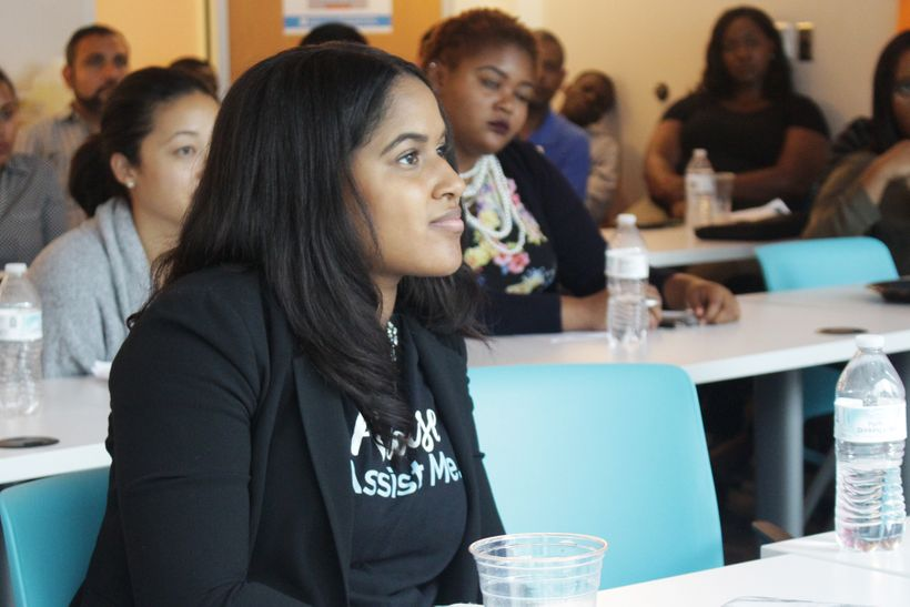 Stephanie Cummings, CEO of Please Assist Me, takes in a session on 'Value Proposition' at American Underground